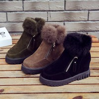 SWYIVY Womens Boots Winter Fur Warm Shoes Platform 2018 Female Snowboots Casual Sneakers Cotton Padded Wedge Woman Snow Boots
