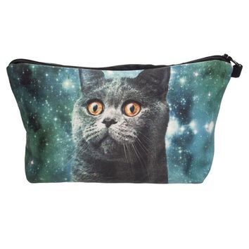 Galaxy blue cat 3D Printing cosmetic bag