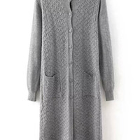 Grey Long Sleeve Knit Pockets Long Cardigan