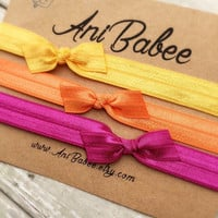 Tie knot baby headband, fall color bow baby headband, baby headband set, girls headband, teen, infant headband