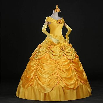 9pcs 2017 Fantasia Women Halloween Cosplay Southern Beauty And The Beast Adult Princess Belle Costume Wedding Dress Bell Macchar Cosplay Catalogue