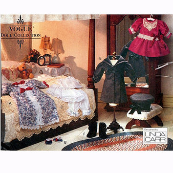 "VOGUE DOLL CLOTHES Pattern 18"" Victorian Doll Clothes Dress Bloomers Nightgown Coat Hat Vogue 8241 American Girl Doll Craft Sewing Patterns"