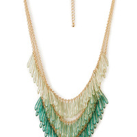 FOREVER 21 Ombre Glass Bead Necklace Mint/Gold One