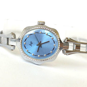 Silver Tone Womens Watch Bracelet LUCH. Blue Dial Ladies Mechanical Wristwatch LUCH. Soviet Russian Women,s Watch 15 Jewels. Gift For Her.