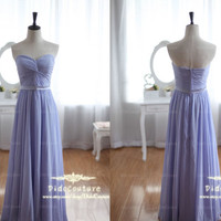 Lavender Sleeveless Sweetheart Chiffon Bridesmaids Dress Hot Sale Simple Prom Dress Cheap Strapless Bridesmaids Gown