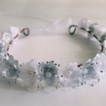 Bridal Flower Crown, Wedding Flower Headband, White Flower Crowns, Flower Girl Headbands, Floral Crowns, White Bridal Wedding Headband