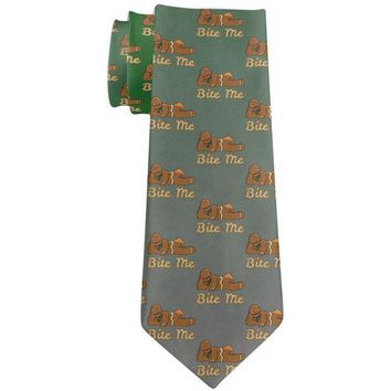 PEAPGQ9 Christmas Gingerbread Man Bite Me Funny All Over Neck Tie