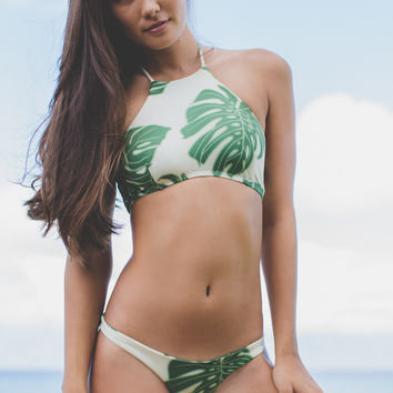 Greenlee High Neck Halter in Green Leaf