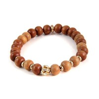 Solitary Sparkling Colored Rhinestone Stretch Sandalwood Bead Bracelet with Metal Disc Beads