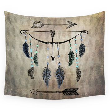 Society6 Bow, Arrow, And Feathers Wall Tapestry