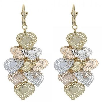Gold Layered 5.107.008 Chandelier Earring, Heart Design, Polished Finish, Tri Tone