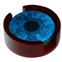 Eyeball Images Coaster Set -4 Piece Glass Coaster Set - Caddy Included