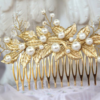 Comb hair, bridal hair comb, pearl headband, golden bride, wedding bands, pearl wedding, pearl comb