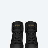 SAINT LAURENT SIGNATURE SL/01H COURT CLASSIC HIGH TOP SNEAKERS IN BLACK LEATHER | YSL.COM