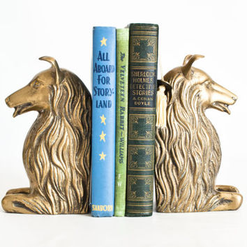 Vintage Solid Brass Collie Bookends, Lassie Dog Shetland Sheepdog Book Ends, HEAVY and Large Size