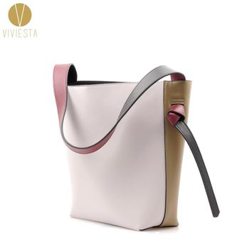 REAL LEATHER TWISTED COLOR BLOCK TOTE - Women's Winter Autumn Two Bi Tone Contrast Colour Shopping Bucket Shoulder Bag Handbag