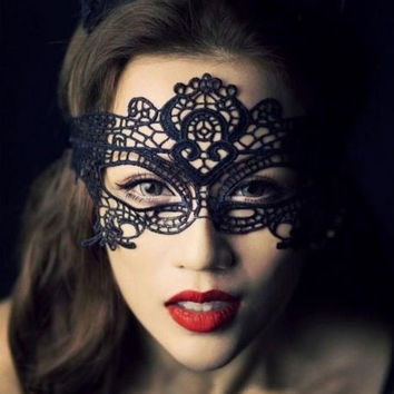 Women Sexy Black Lace Venetian Halloween Ball Masquerade Party Eye Mask Gift (Color: Black) = 1932642308