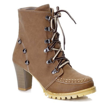 Chunky Heel Metal Designed Lace Up Boots