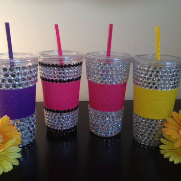 RHINESTONE BLING Tumbler Cup with Straw by SpasoDesigns on Etsy