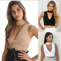 Choker Neck Slim Crop Top B0014711
