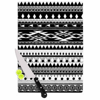"Nika Martinez ""Black Hurit"" Gray White Cutting Board"