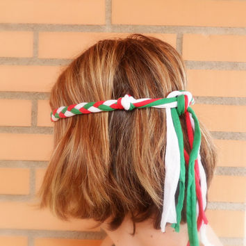 Mexican headband for the World Cup 2014 for Mexico soccer fan women. Braided boho headband hippie.