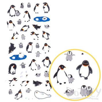 Arctic Animals Themed Penguins and Harp Seals Shaped Stickers for Scrapbooking