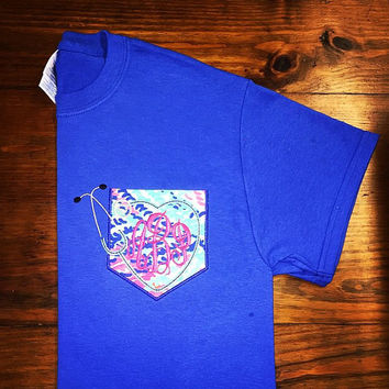 Monogram nursing pocket shirt with Lilly Pulitzer