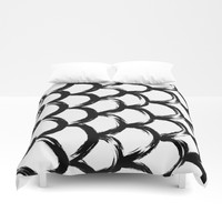 Black and White Scaled Brush Strokes Pattern Print Minimal Minimalism Duvet Cover by AEJ Design