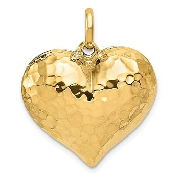 14k Yellow Gold Hollow Hammered Puffed Heart Pendant, 25mm