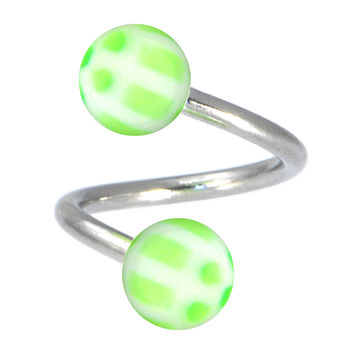 Light Green SOCCER BALL Spiral Twister Belly Button Ring