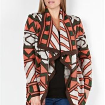 B Sharp Collection Coral, Green, Brown, and Beige Geometric Design Cardigan Sweater