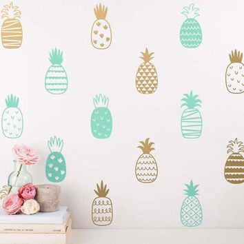 14 Style DIY Pineapple Art Decor Vinyl Wall Sticker , Cute Pineapple Wall Decals Nursery Art Tattoo Unique Wall Decor