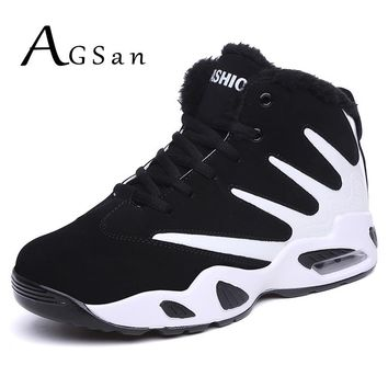 AGSan men boots winter snow boots high top mens fur plush casual shoes lace up ankle boots black suede leather fashion sneakers