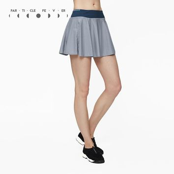 Particle Fever Two Colors Double Layer Knitting Mesh Sports Skirt High Elastic Tennis Skirt Pleated Tennis Skorts