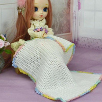 White Afghan Blanket, Crochet Home Décor, Cottage Chic, Fashion Doll, 1:6 Scale, Doll Bed Accessories, Barbie, Blythe, Pullip, Azone, Dolls