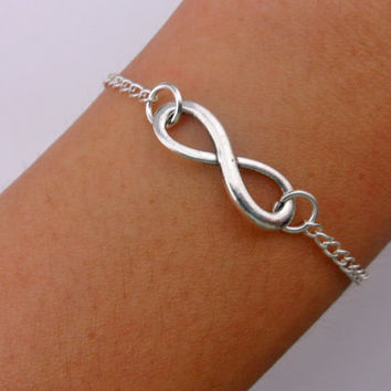 Silver infinity bracelet chain bracelet women bracelet girls bracelet fashion bracelet with silver chain and silver infinity SH-2674