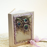 Wedding Guest Book Peacock Design Hand Made and Hand Painted Glass Cover OOAK Book Rustic Eco