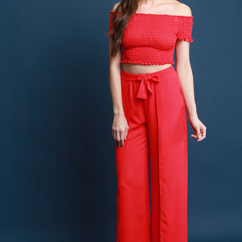 Two Piece Smock Bardot Top with Palazzo Pants Set | UrbanOG