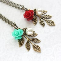 Bridesmaids Necklace Pearl Acorn Rose Charm Necklace Woodland Garden Wedding Teal and Red Bright Colorful Antiqued Brass Branch Nickel Free