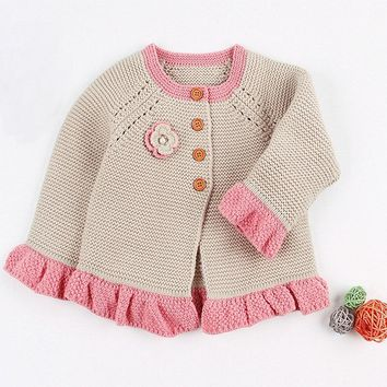 Baby Girls Winter Cardigan Knit Floral Sweaters For Infant Toddler Cardigan For Kids Boy Girl 2018 Cotton Warm Clothes 0-12M