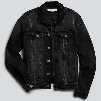 Calvin Klein Reissue Black Denim Washed Trucker Jacket - Urban Outfitters