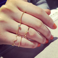 5Pcs\set Cute Chic Style Bright Crystal Rhinestone Midi Knuckle Finger Joint Rings women Ring