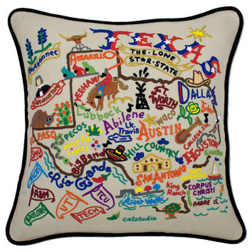 Texas Hand Embroidered Pillow