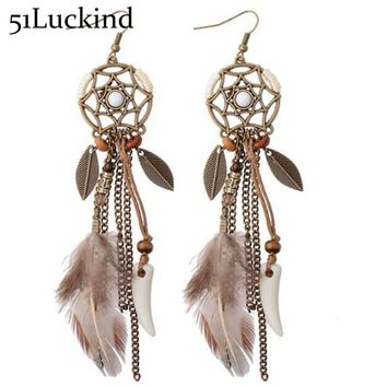 Antique Bohemia Long Feather Hanging Earrings Handmade Boho Ethnic Dangle Earring For Women Ear Jewelry Kendra Femme Bijoux