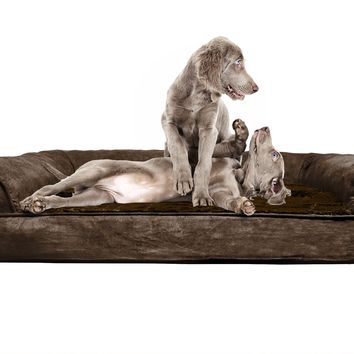 FurHaven Orthopedic Dog Couch - Sofa Pet Bed for Dogs and Cats Plush Espresso Jumbo