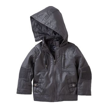 Urban Republic Faux-Leather Hooded Moto Jacket - Boys 4-7