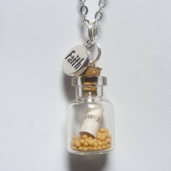 Faith Mustard Seed Bottle Necklace Pendant - Miniature Food Jewelry,Handmade Jewelry Necklace Pendant