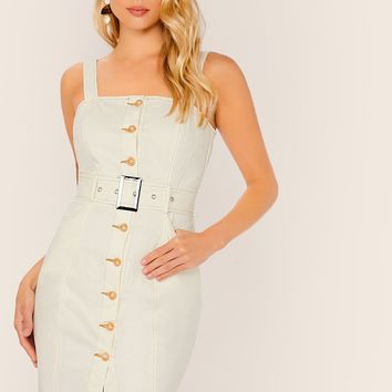 Single Breasted Buckle Belted Raw Hem Tank Dress