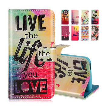 Wallet Flip Case With Stand Holder For Apple iPod Touch 5 touch5 Touch 6 touch6 Tribe Cartoon Print Leather Phone Cover